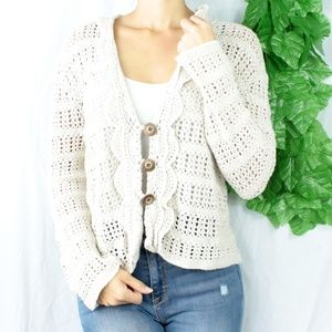 Sweaters - Vintage Unique Crochet Knit Cardigan Ruffles Med